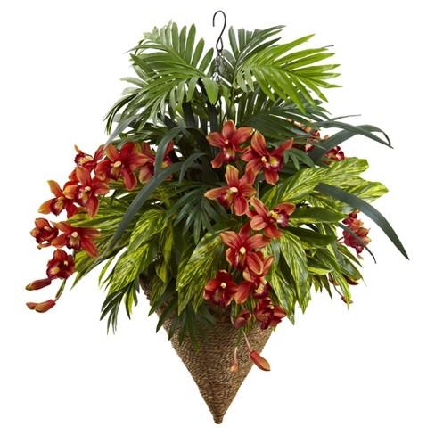 Mixed Tropical & Cymbidium Hanging Basket Red - Nearly Natural - image 1 of 3