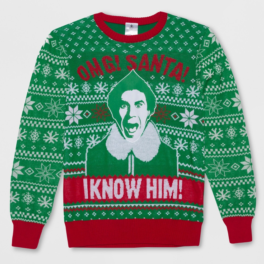 Men's Tall Elf I Know Santa Ugly Holiday Sweatshirt - Green Light LT