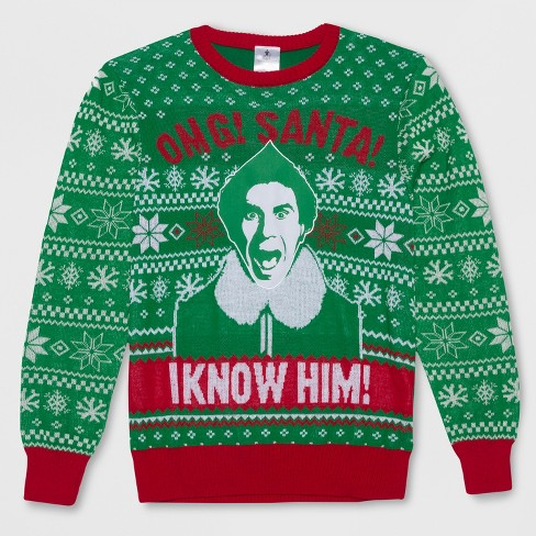 Mens Big Tall Elf I Know Santa Ugly Holiday Sweatshirt Green