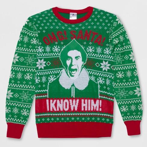 b0904ad78f Men s Big   Tall Elf I Know Santa Ugly Holiday Sweatshirt - Green ...
