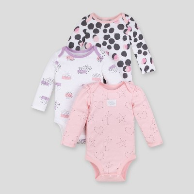 Lamaze Baby Girls' 3pk Printed Organic Cotton Bodysuit - Pink Newborn