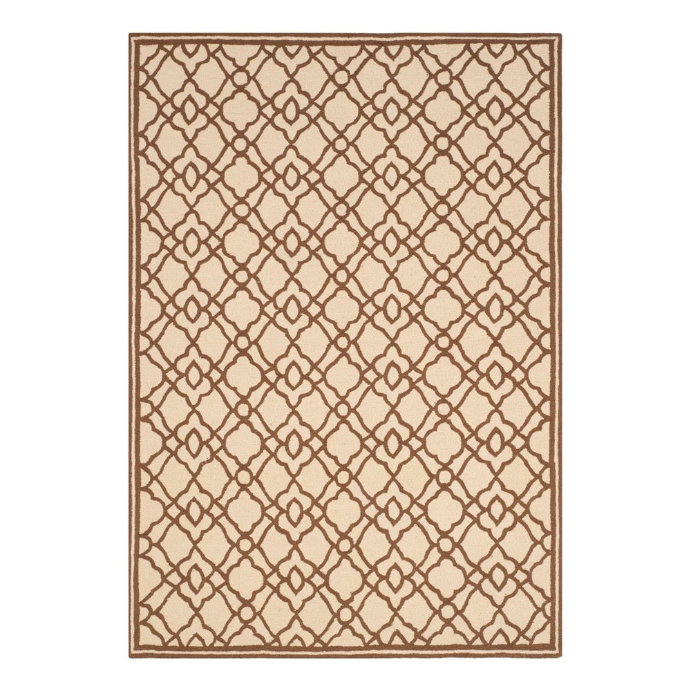 Ivory/Brown Abstract Hooked Area Rug - (5'x7') - Safavieh