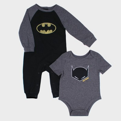 Baby Boys' Warner Bros. Batman 2pk Long Sleeve Romper and Short Sleeve Bodysuit Set - Black 3-6M