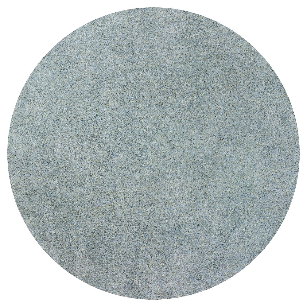 Blue Solid Woven Round Area Rug 6' - Kas Rugs