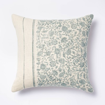 Floral Striped Square Throw Pillow Blue/Cream - Threshold™ designed with Studio McGee