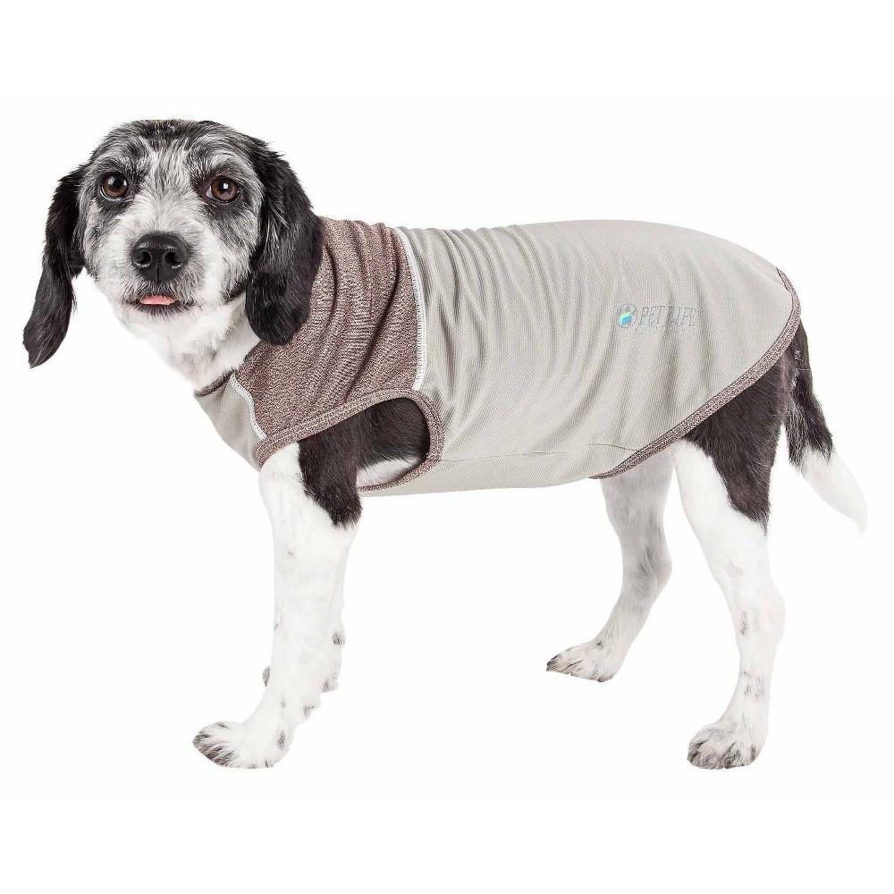 Pet Life Active Aero Pawlse Heathered Quick Dry And 4 Way Stretch Dog Tank Top T Shirt Gray M