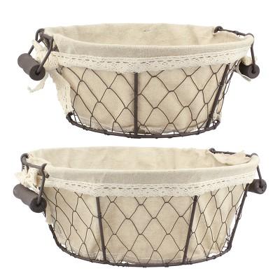 Wire Baskets with Fabric Brown 2pk - Off White - Stonebriar