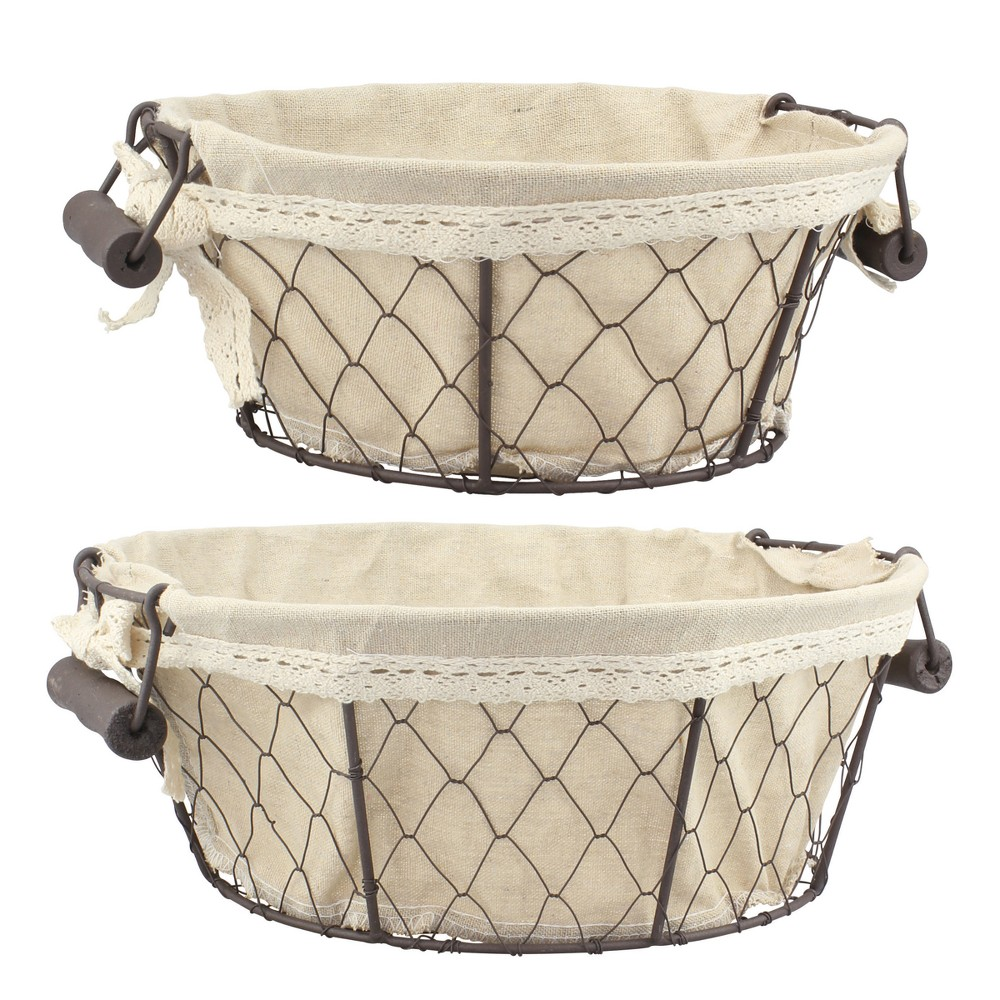 Image of Wire Baskets with Fabric Brown 2pk - Off White - Stonebriar