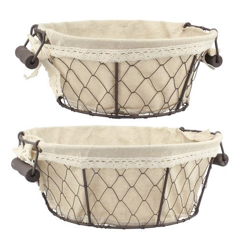 Wire Baskets with Fabric Brown 2pk - Off White - Stonebriar - image 1 of 4