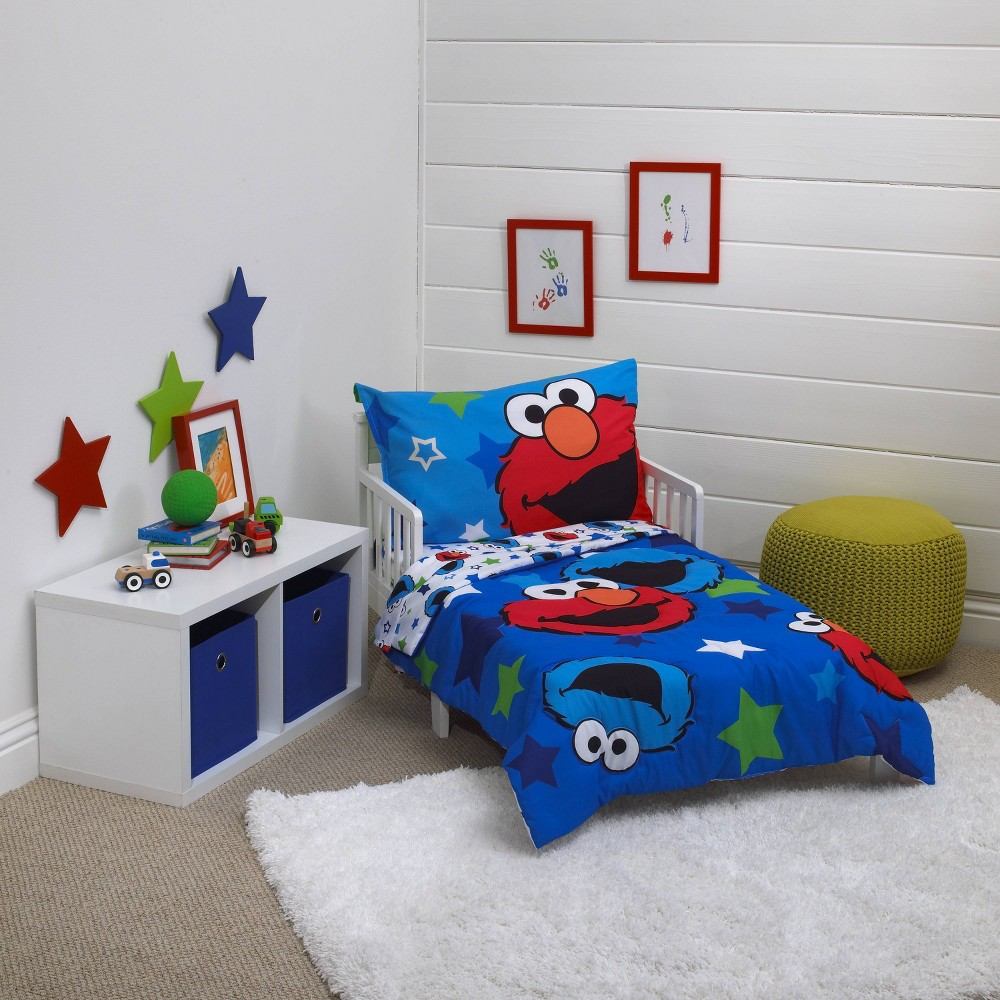 Image of Sesame Street 4pc Awesome Buds Toddler Bedding Set