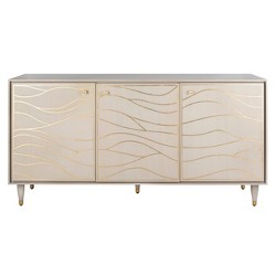 Broderick Antique Gold Wave Sideboard White - Safavieh