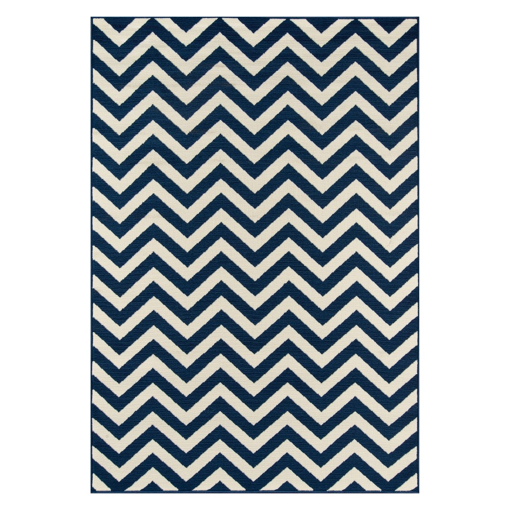 "Image of ""1'8""""X3'7"""" Chevron Loomed Accent Rug Navy (Blue) - Momeni"""
