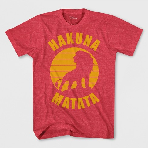 Boys' The Lion King Hakuna Matata Short Sleeve T-Shirt - Red Heather - image 1 of 1