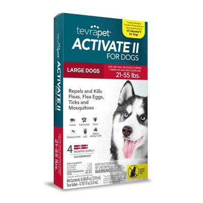 Tevra Pet Activate II Flea and Tick Treatment for Dogs - 4 Doses