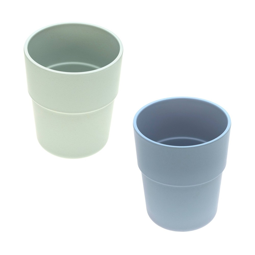 Image of Lassig Bamboo Mug Set - 2pc Mint/Blueberry, Green/Blueberry