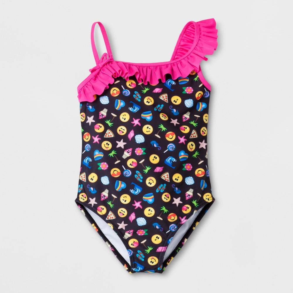 Girls' Emoji One Piece Swimsuit - Black 5/6