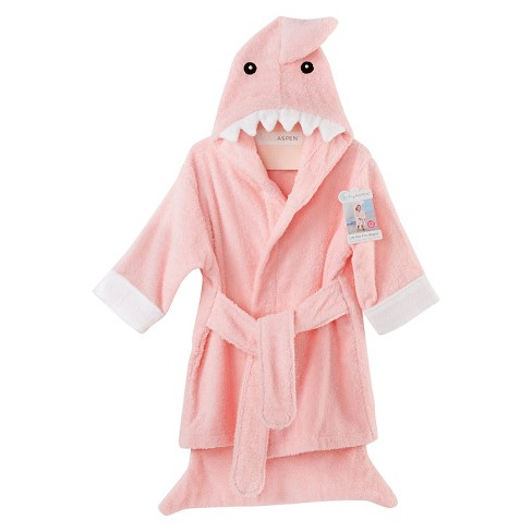 Baby Aspen Let the Fin Begin Terry Shark Robe - Pink (12-18 months) - image 1 of 2