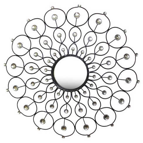 Wall Mirror-Weaved Pattern with Jewels - Silver - Home Source - image 1 of 2