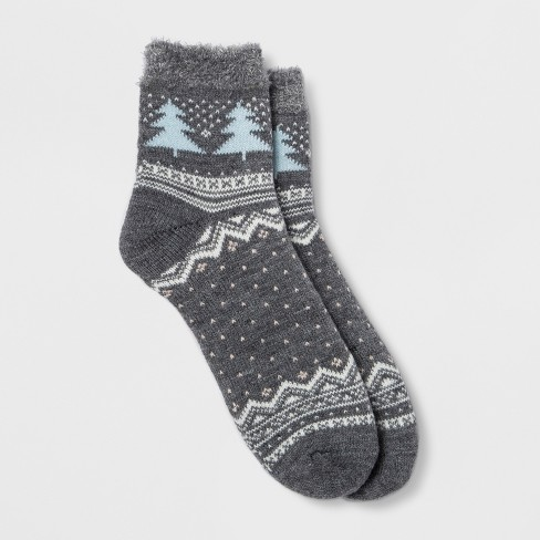 Women's Tree Double Lined Cozy Ankle Socks - Gilligan & O'Malley™ Navy One Size - image 1 of 1