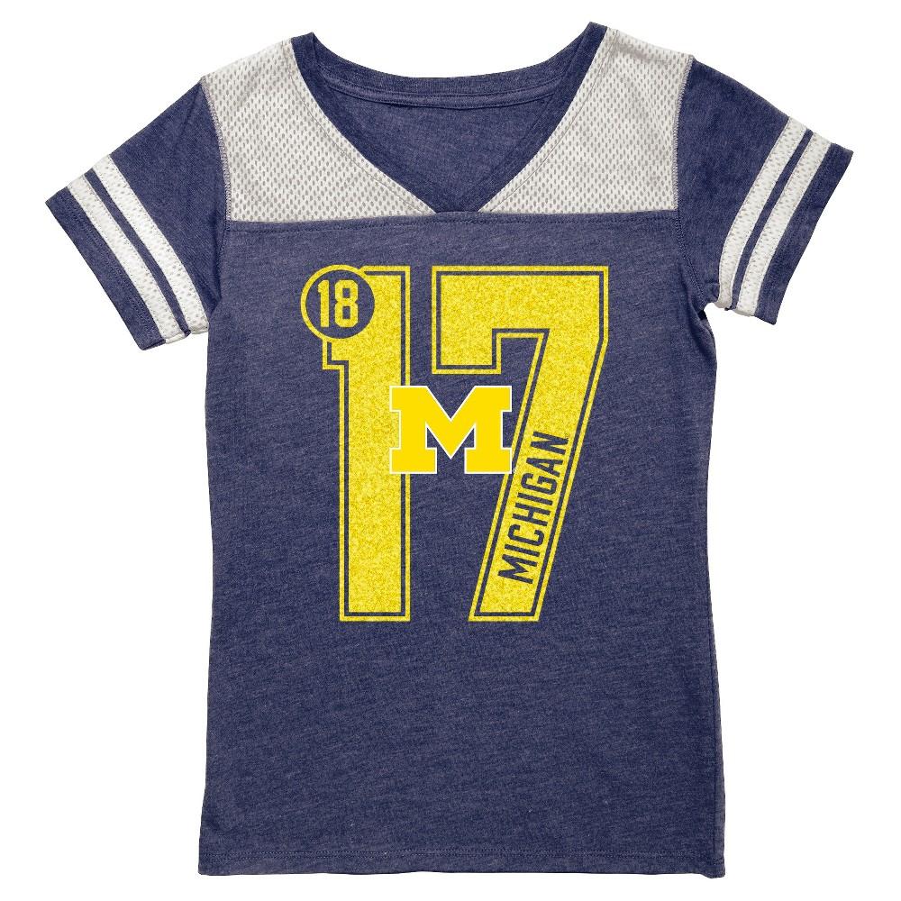 NCAA Michigan Wolverines Girls' V-Neck Tunic Shirt - XL, Blue