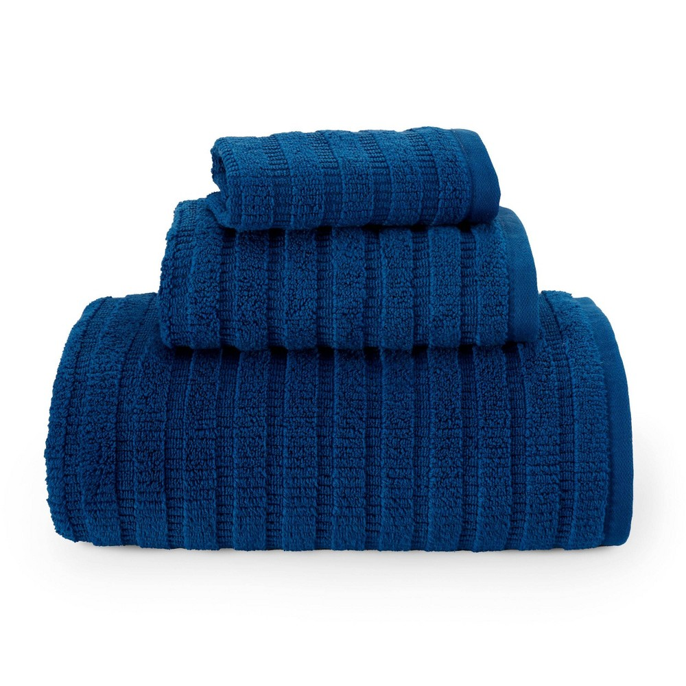 Image of 3pc Preston Solid Towel Set Navy - Eddie Bauer