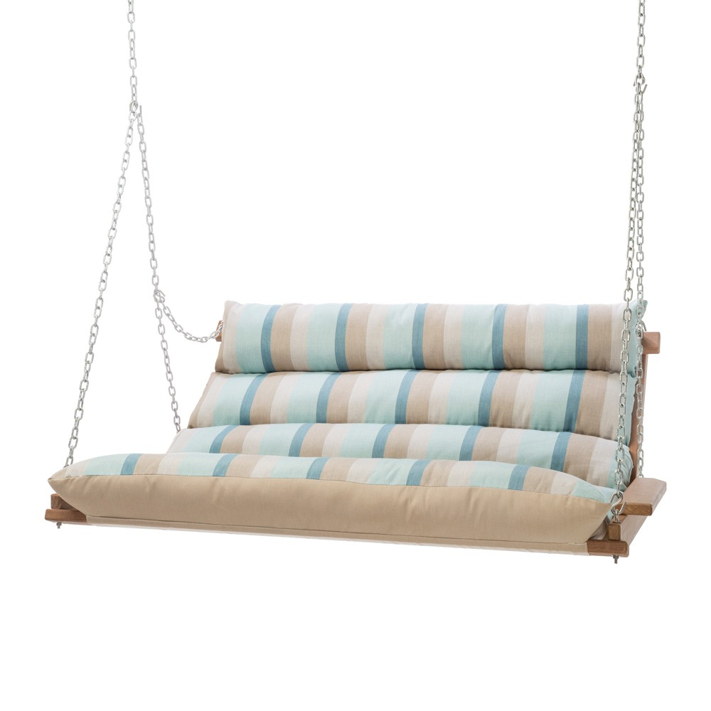 Image of Double Swing - Beige/Blue Stripe - Hatteras Hammocks