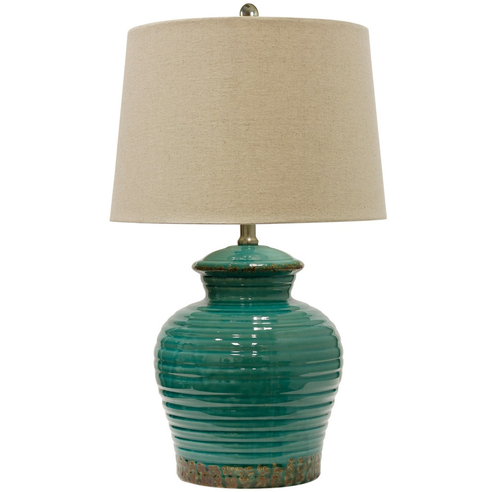 Turquoise Ceramic Table Lamp with Beige Hardback Linen Shade (Lamp Only) - StyleCraft, Gray