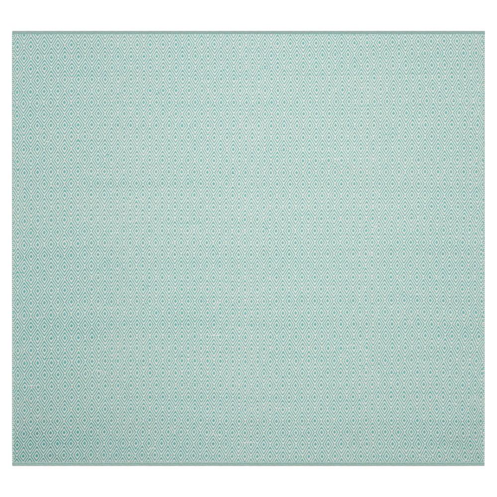 Ivory/Aqua (Ivory/Blue) Stripe Flatweave Woven Square Accent Rug - (4'X4') - Safavieh