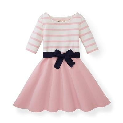 Hope & Henry Girls' Rose Pink Blocked Skater Dress