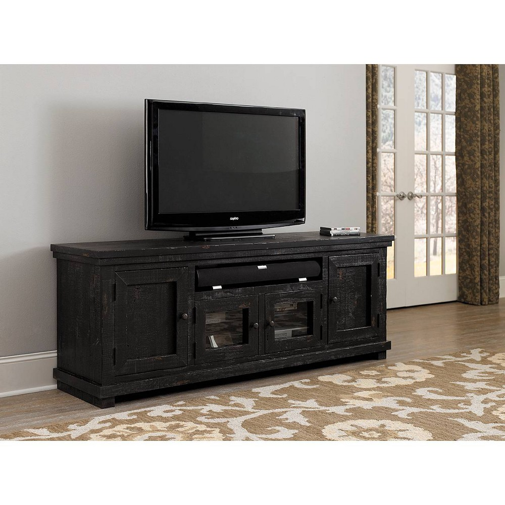 "Image of ""74"""" Willow TV Console Weathered Gray - Progressive"""