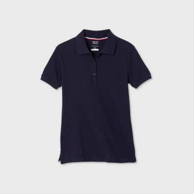 French Toast Young Womans' Uniform Short Sleeve Pique Polo Shirt - Navy