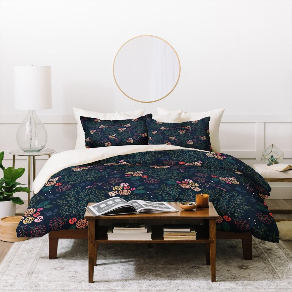 Full/Queen Floral Iveta Abolina Camellia Garden Duvet Cover Set Purple - Deny Designs, Purple Green Black