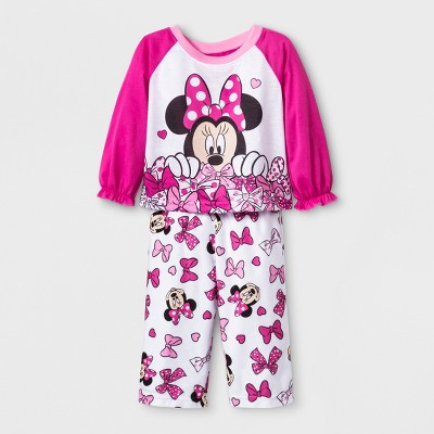 Baby Girls' Minnie Mouse 2pc Poly Pajama Set - Pink 12M