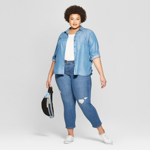 557dd46809a Women s Plus Size Destructed Boyfriend Jeans - Ava   Viv™ Light Wash    Target