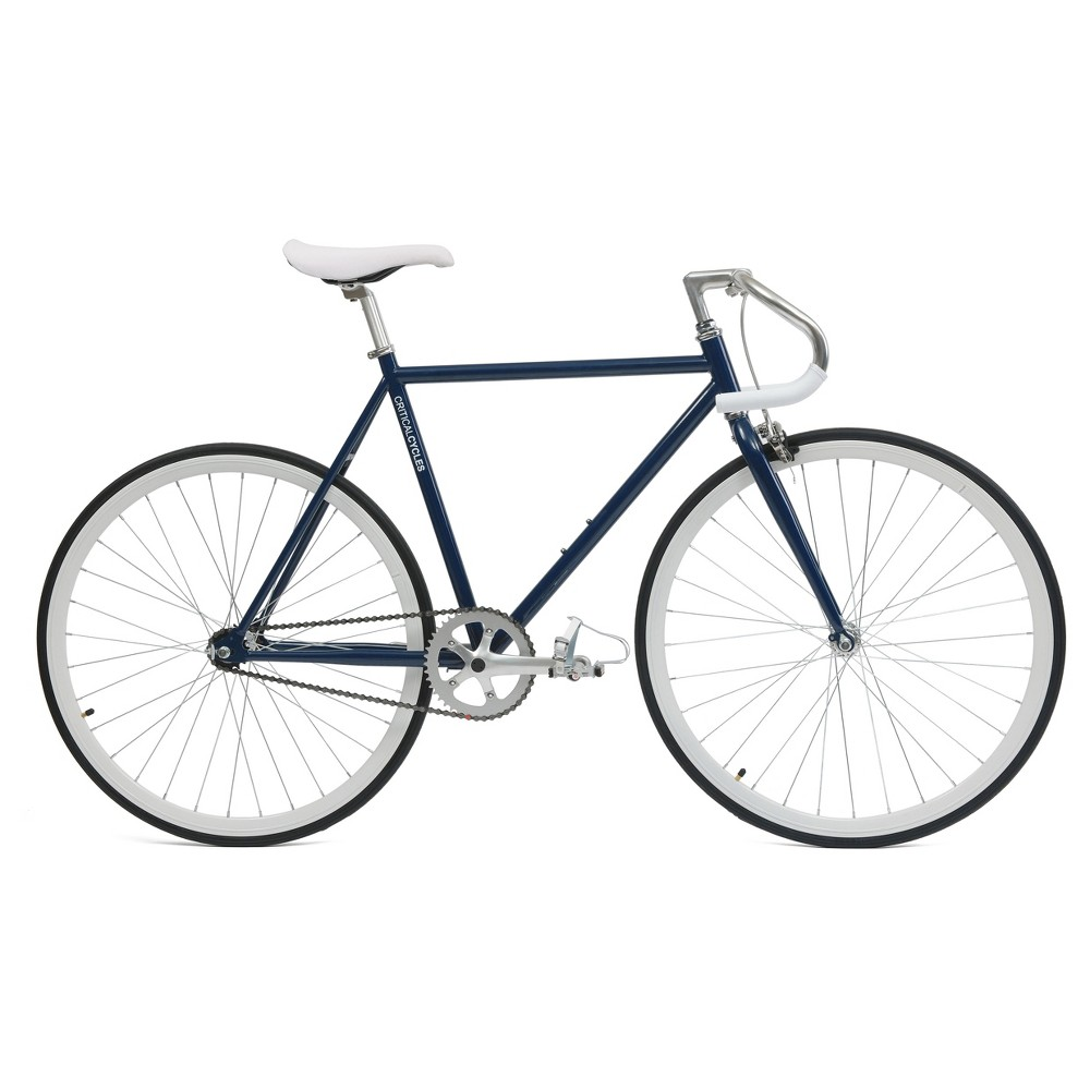 Critical Cycles Fixie 27 Fixed Gear Road Bike with Pista Bars - Navy Blue