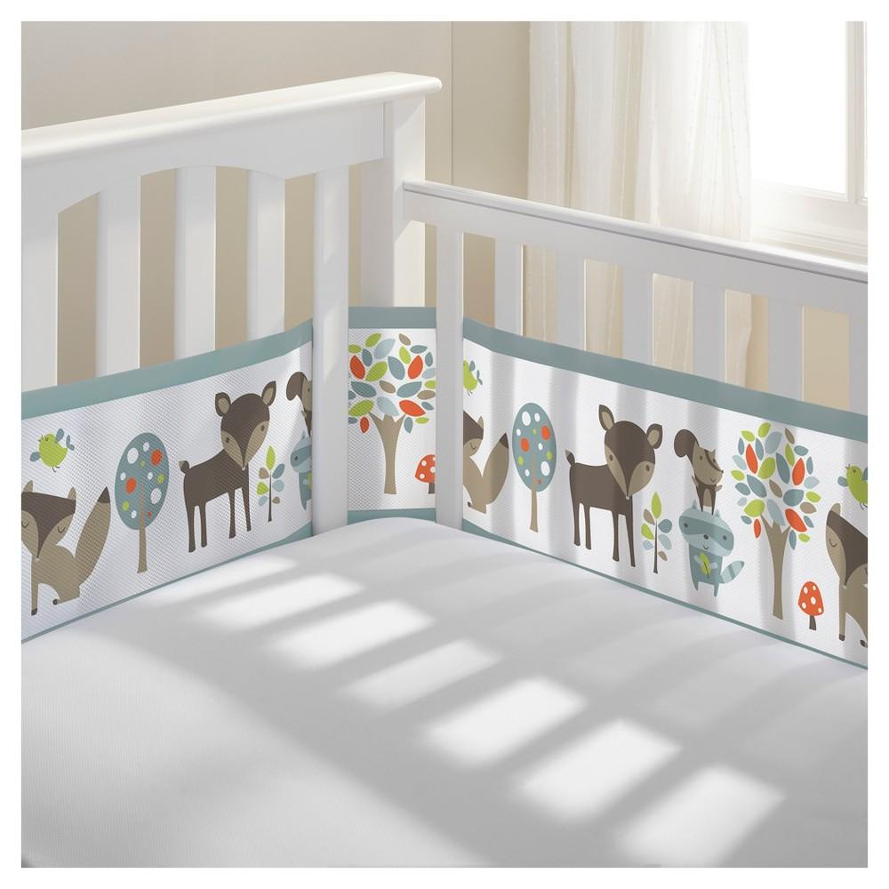 BreathableBaby Mesh Crib Liner - Woodland Fun - Gray, Woodland Fun Gray