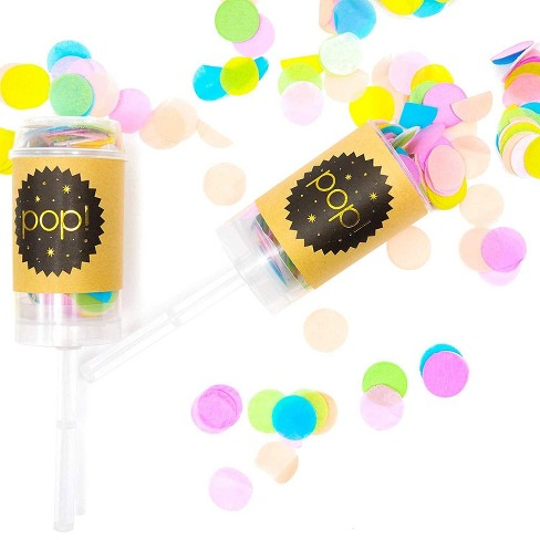 6 Pack Colorful Push Pop Confetti Canons Poppers with 6 Bag Refills, for Wedding Bridal Shower Baby Shower Party Supplies - image 1 of 3