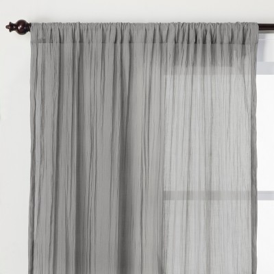Crushed Sheer Curtain Panel Gray 84  - Opalhouse™