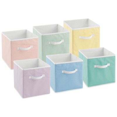 mDesign Fabric Kids Storage Organizer Cube Bin - Small, 6 Pack - Multicolored