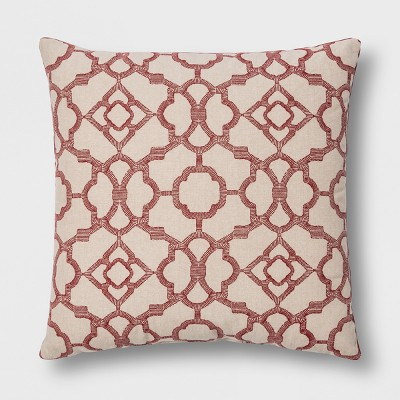 Printed Lattice With Velvet Reverse Square Throw Pillow Red - Threshold™