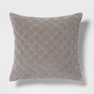 Square Velvet Embroidered Decorative Throw Pillow - Threshold™
