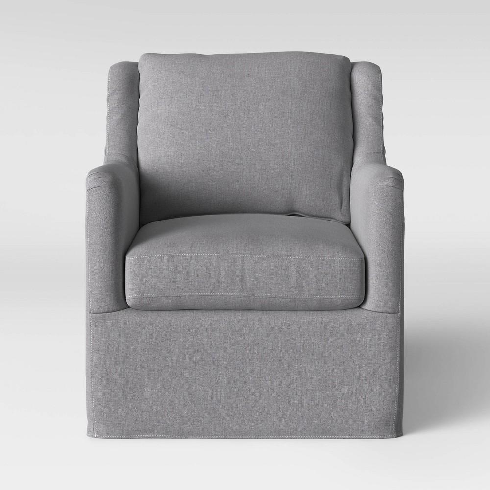Boston Swivel Slip Cover Chair Gray - Threshold