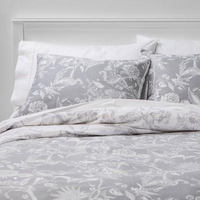 Full/Queen Floral Printed Family Friendly Duvet Cover & Sham Set Gray - Threshold™