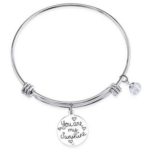 Women S Stainless Steel You Are My Sunshine Enamel Expandable Bracelet Silver 8 Target