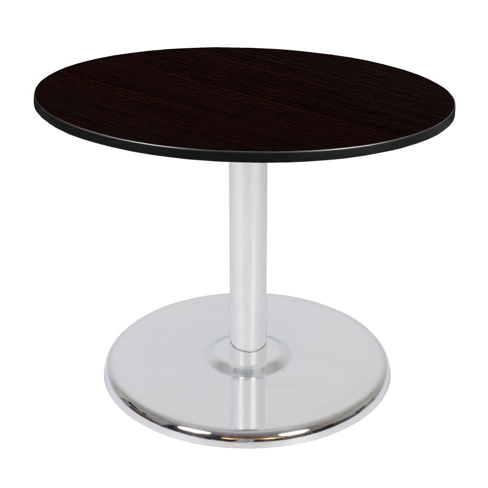 42 Via Round Platter Base Table Espresso/Chrome (Brown/Grey) - Regency