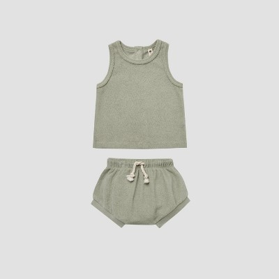 Q by Quincy Mae Baby Retro Terry Top & Bottom Set - Sage Green 18-24M