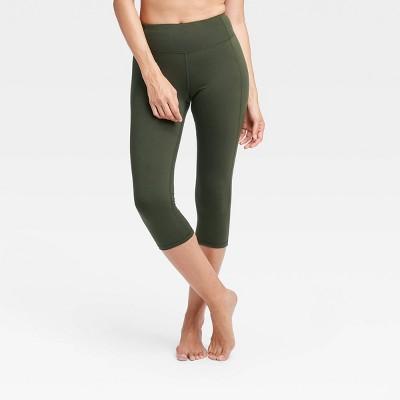Women S Simplicity Mid Rise Capri Leggings 20 All In Motion Olive Green M Target