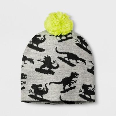 Boys' Dinosaur Snowboard Beanie - Cat & Jack™ Gray One Size