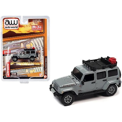 2018 Jeep Wrangler Rubicon with Roof Rack Gray Limited Edition to 3600 pieces Worldwide 1/64 Diecast Model Car by Autoworld