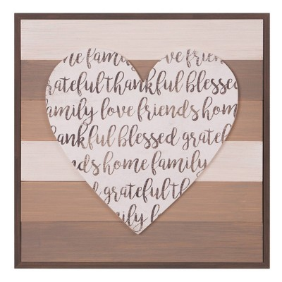 "18"" x 18"" Thankful Grateful Blessed Cut Out Heart Wood Plank Brown - Patton Wall Decor"
